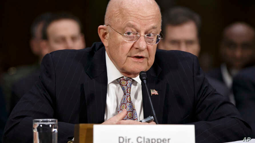 FILE - Director of National Intelligence James Clapper testifies on Capitol Hill in Washington, Feb. 26, 2015.
