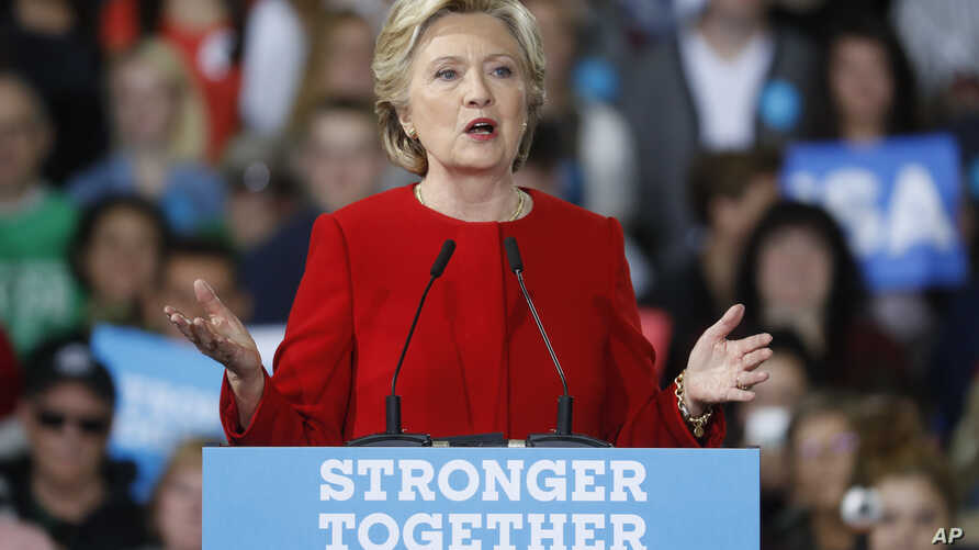 Democratic presidential candidate Hillary Clinton speaks at a campaign rally at Kent State University, Oct. 31, 2016, in Kent, Ohio.