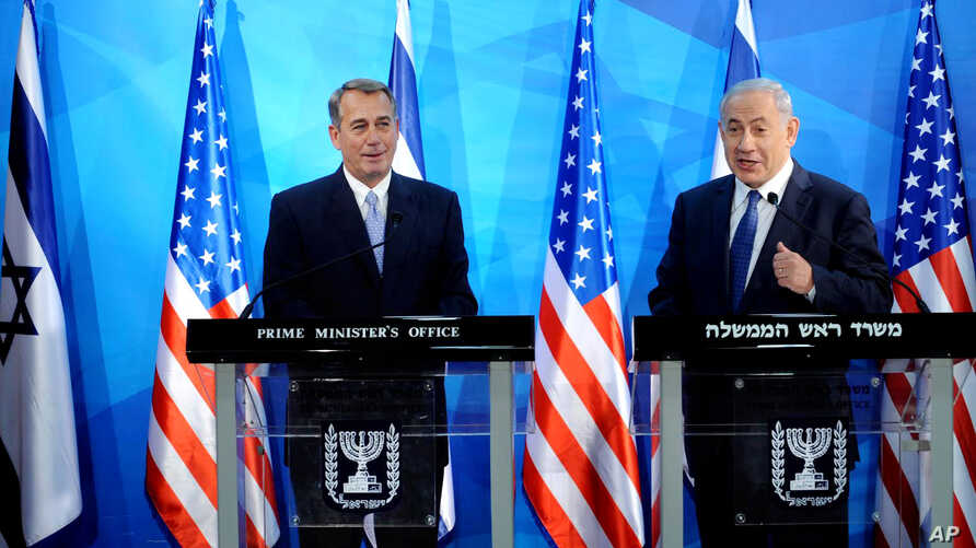 Speaker of the United States House of Representatives John Boehner, left, and Israel's Prime Minister Benjamin Netanyahu, right, make statements during a press conference at the prime minister's office in Jerusalem, April 1, 2015.