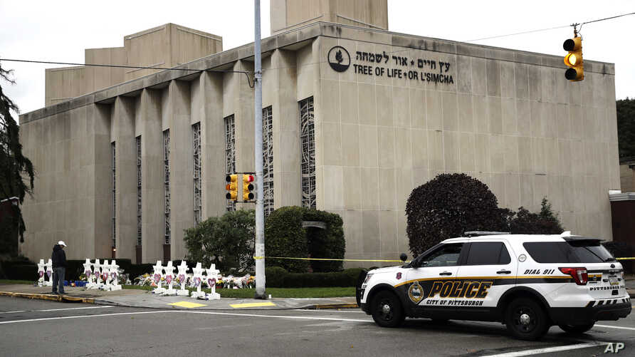 A police vehicle is seen near the Tree of Life/Or L'Simcha Synagogue in Pittsburgh, Pennsylvania, Oct. 29, 2018.