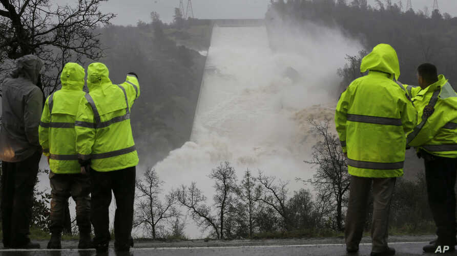 Water rushes down the Oroville Dam spillway, in Oroville, Calif., Feb. 9, 2017. State engineers on Thursday discovered new damage to the Oroville Dam spillway, the tallest in the United States, though they said there is no harm to the nearby dam and