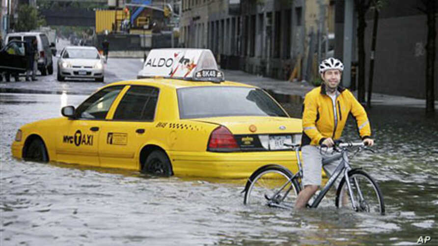 A bicyclist makes his way past a stranded taxi on a flooded New York City Street as Tropical Storm Irene passes through the city, August 28, 2011. A global warming-fueled sea level rise over the next century could flood millions in the US, according
