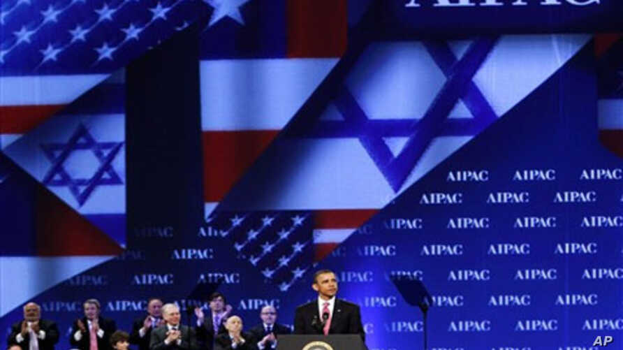 President Barack Obama receives applause as he speaks at the American Israel Public Affairs Committee (AIPAC) convention in Washington Sunday, May 22, 2011