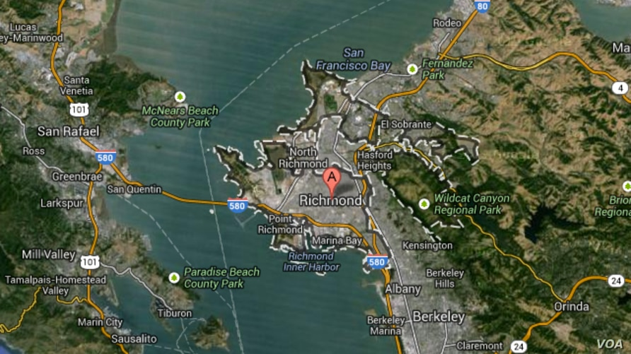 The body of a shot teenager was visible on a Google Maps satellite image near Richmond, California.