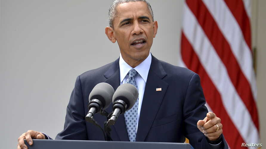 FILE - U.S. President Barack Obama speaks about the framework agreement on Iran's nuclear program announced by negotiators in Switzerland during a statement in the Rose Garden of the White House in Washington, April 2, 2015.
