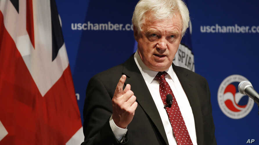 David Davis, Britain's Secretary of State for Exiting the European Union, speaks at the U.S. Chamber of Commerce, in Washington, Sept. 1, 2017.