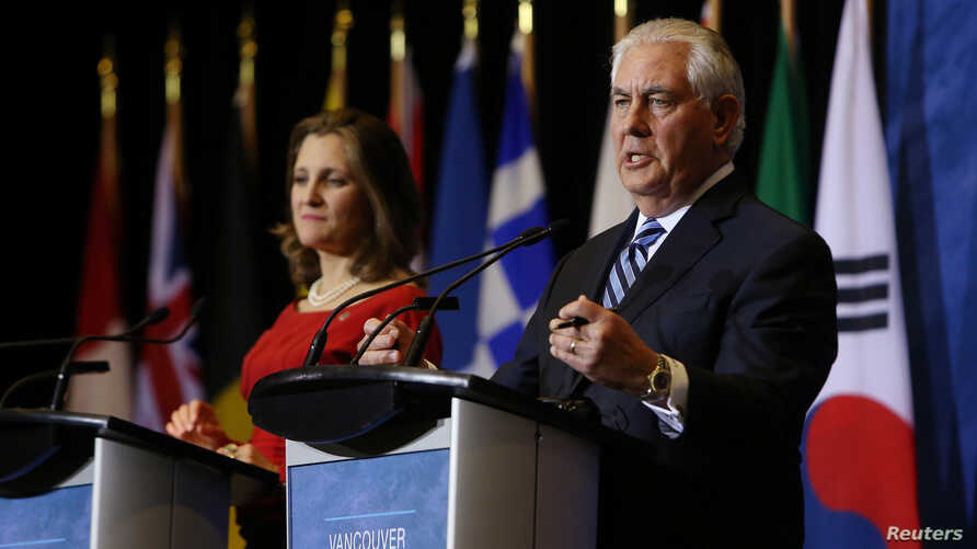 U.S. Secretary of State Rex Tillerson and Canada's Foreign Minister Chrystia Freeland speak at a news conference during the Foreign Ministers' Meeting on Security and Stability on the Korean Peninsula in Vancouver, British Columbia, Jan. 16, 2018.