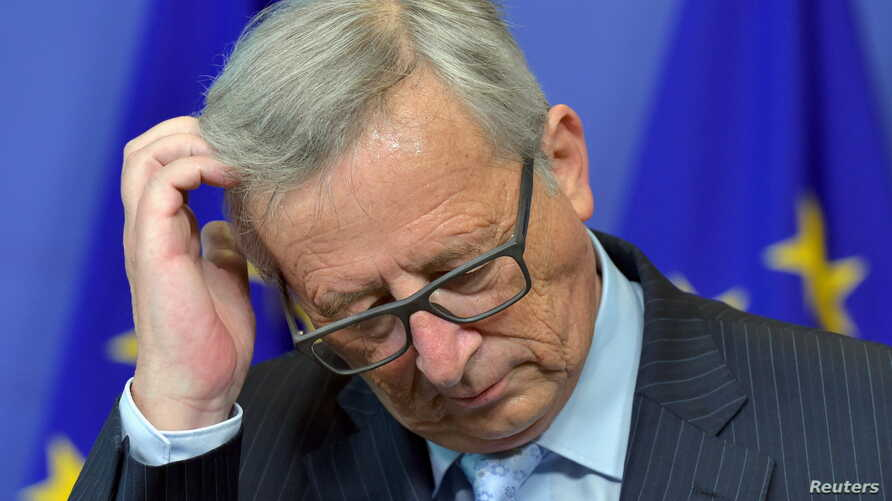 European Commission President Jean-Claude Juncker holds a news conference as he receives Mario Monti, Chairman of the High Level Group on Own Resources, at the EC headquarters in Brussels, Belgium, July 1, 2015.