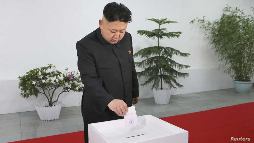 North Korean leader Kim Jong Un visits the Kim Il Sung University of Politics to take part in the election of a deputy to the Supreme People's Assembly at sub-constituency No. 43 of Constituency No. 105 together with service personnel of the KPA, Mar