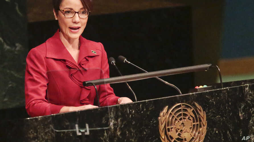 Jamaica's Minister for Foreign Affairs and Foreign Trade Kamina Johnson Smith addresses the United Nations special session on global drug policy, April 20, 2016 at U.N. headquarters.
