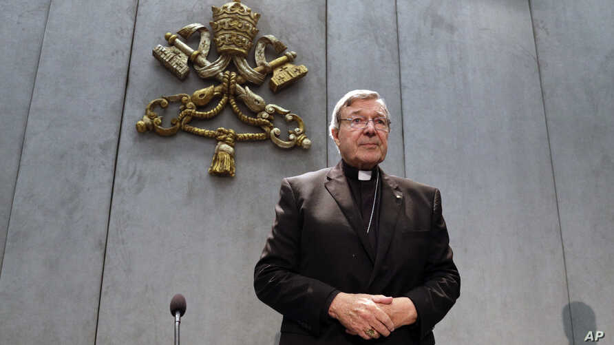 Cardinal George Pell arrives to make a statement, at the Vatican, June 29, 2017. The Catholic Archdiocese of Sydney says Vatican Cardinal George Pell will return to Australia to fight sexual assault charges.