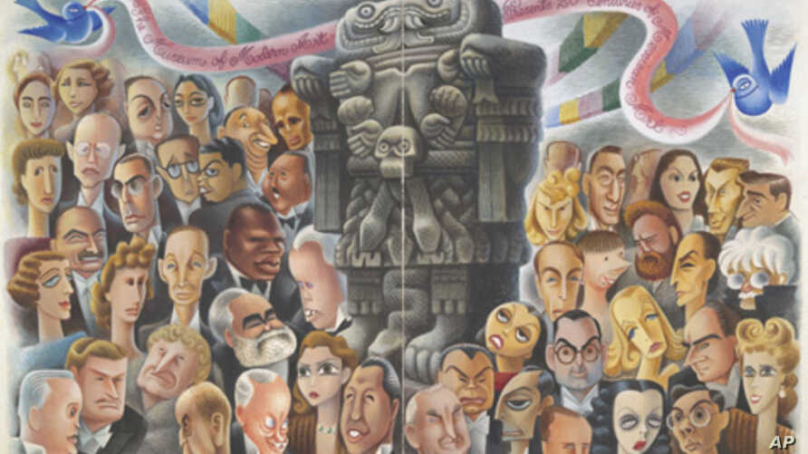 In 1940, Mexican artist Miguel Covarrubias illustrated opening night festivities for an exhibition called 'Twenty Centuries of Mexican Art.'