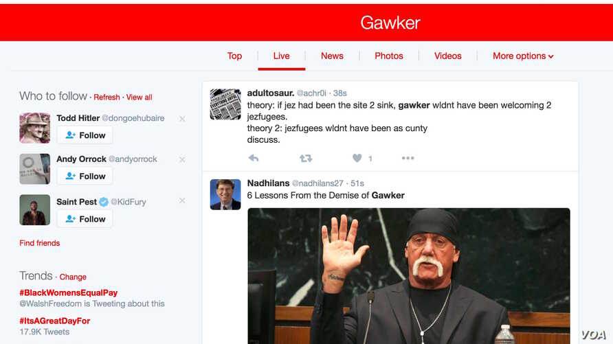 A screenshot a Twitter feed on the shutting down of Gawker, a gossip and news website on Aug. 23, 2016. (VOA)