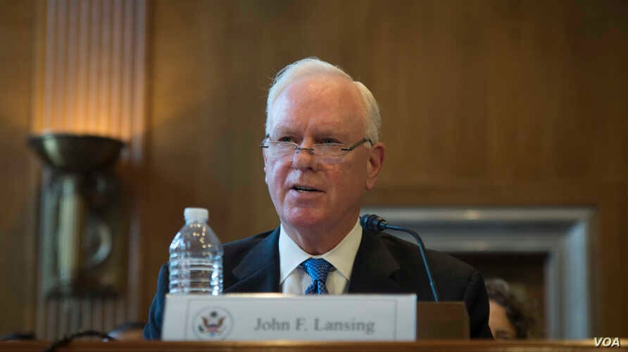 US Broadcasting Board of Governors (BBG) director John F. Lansing discusses countering Russian propaganda during testimony before a Senate panel, Sept. 14, 2017.