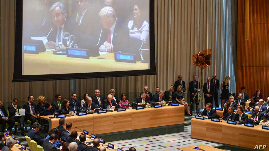 United Nations Secretary-General Antonio Guterres and US President Donald Trump open the Global Call To Action On The World Drug Problem at the United Nations in New York, Sept. 24, 2018.