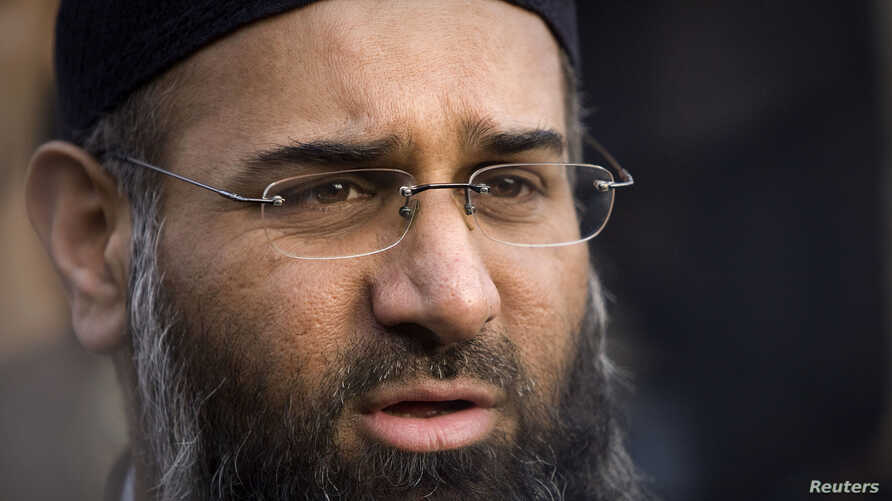 FILE - Muslim preacher Anjem Choudary and an associate are accused of using lectures published online to encourage support for Islamic State millitants.