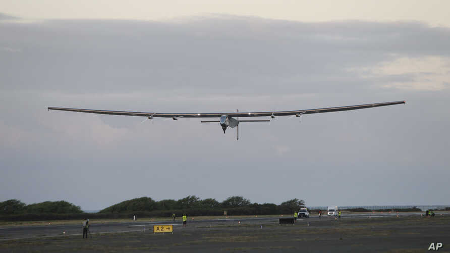 The Solar Impulse 2 solar plane lifts off at the Kalaeloa Airport, in Kapolei, Hawaii,  April 21, 2016. The solar plane on an around-the-world journey has reached the point of no return over the Pacific Ocean after departing Hawaii, heading to Califo