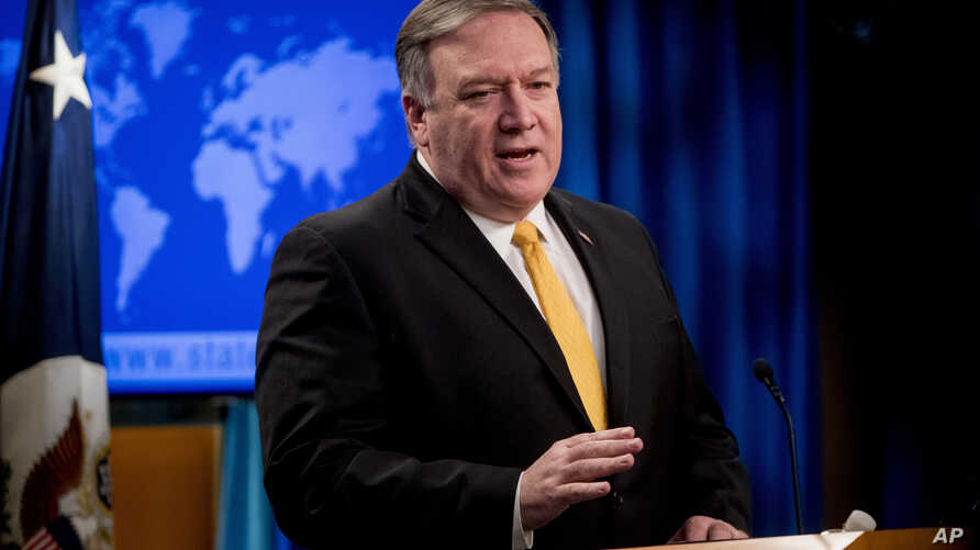 Secretary of State Mike Pompeo speaks at a news conference at the State Department in Washington, Feb. 1, 2019.