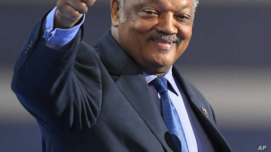 FILE - Rev. Jesse Jackson speaks during the third day of the Democratic National Convention in Philadelphia, July 27, 2016.