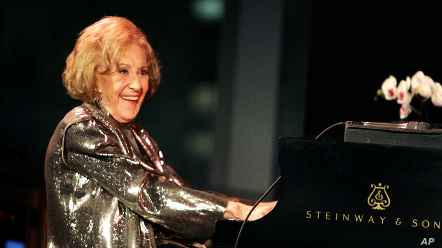 Marian McPartland playing the piano during a celebration of her 90th birthday at Jazz at Lincoln Center in New York, March 19, 2008.