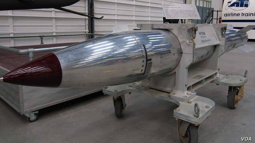 A B61 nuclear bomb on display at the Pima Air & Space Museum in Tucson, Arizona (Flickr user Dave Bezaire)