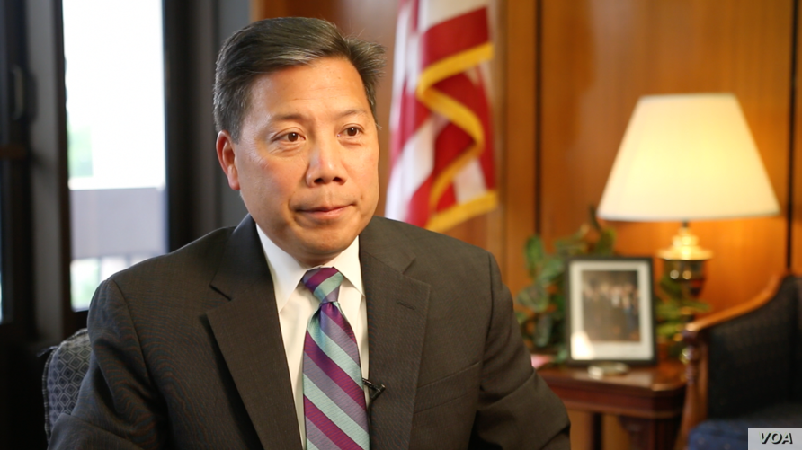 Deputy Secretary of Labor Christopher Lu during VOA interview, Washington, June 16, 2016.