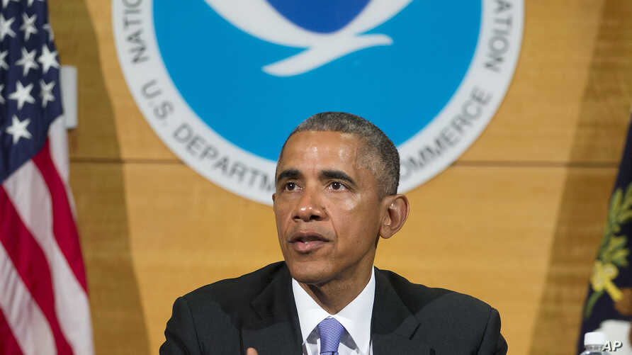 President Barack Obama speaks after receiving a briefing at the National Hurricane Center in Miami, May 28, 2015, to draw attention to preparedness in advance of the annual storm season that formally begins June 1.