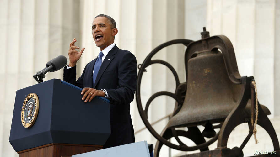 U.S. President Barack Obama speaks from the steps of the Lincoln Memorial during the commemoration of the 50th anniversary of the March on Washington August 28, 2013.