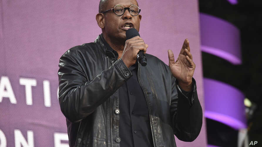 FILE - Actor Forest Whitaker speaks at the 2018 Global Citizen Festival in New York, Sept. 29, 2018.