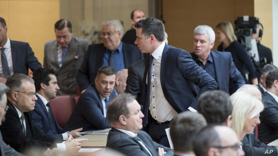More than a dozen lawmakers from the far-right Alternative for Germany walked out of Bavarian state parliament during a tribute to Holocaust victims at the Bavarian Parliament in Munich, Germany, Jan. 23, 2019.