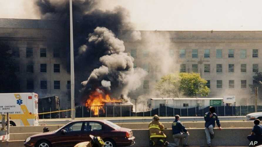 This undated photo provided by the FBI shows damage to the Pentagon caused during the 9/11 attacks. This photo and others disappeared from the FBI website for a time because of a technical glitch. A bureau spokeswoman said she didn't know how long th