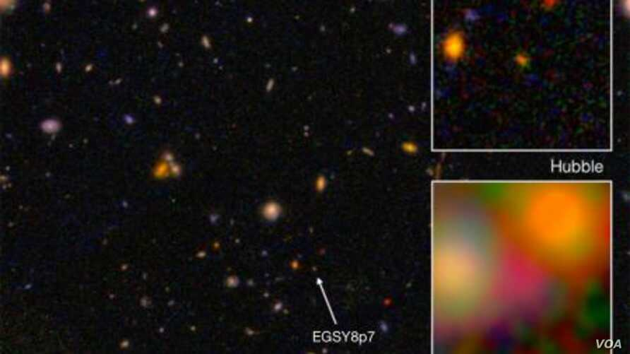 Galaxy EGS8p7, as seen from the Hubble Space Telescope (wide and top right) and Spitzer Space Telescope (inset, bottom right), taken in infrared. (NASA)