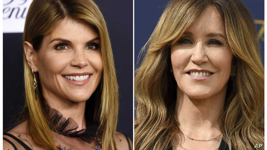 This combination photo shows actress Lori Loughlin at the Women's Cancer Research Fund's An Unforgettable Evening event in Beverly Hills, Calif., on Feb. 27, 2018, left, and actress Felicity Huffman at the 70th Primetime Emmy Awards in Los Angeles on