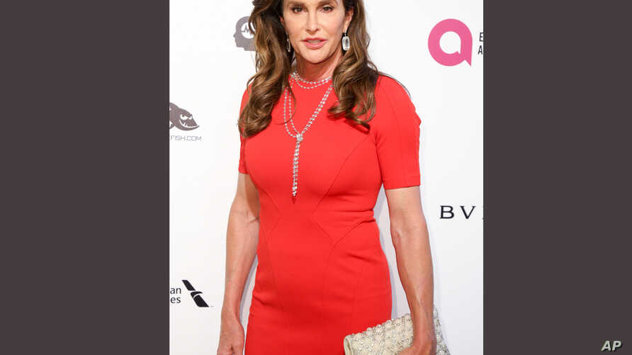 Caitlyn Jenner arrives at a Oscar Viewing Party in West Hollywood, Calif., Feb. 28, 2016. Jenner has taken up Donald Trump's offer and used the women's restroom at one of his luxury buildings.