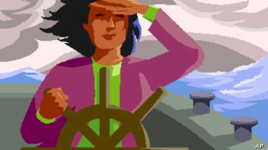 This woman at the wheel symbolizes parents who give up paid outside work to stay home and teach their children. The drawing is a logo of a home-schooling website called Parent at the Helm.