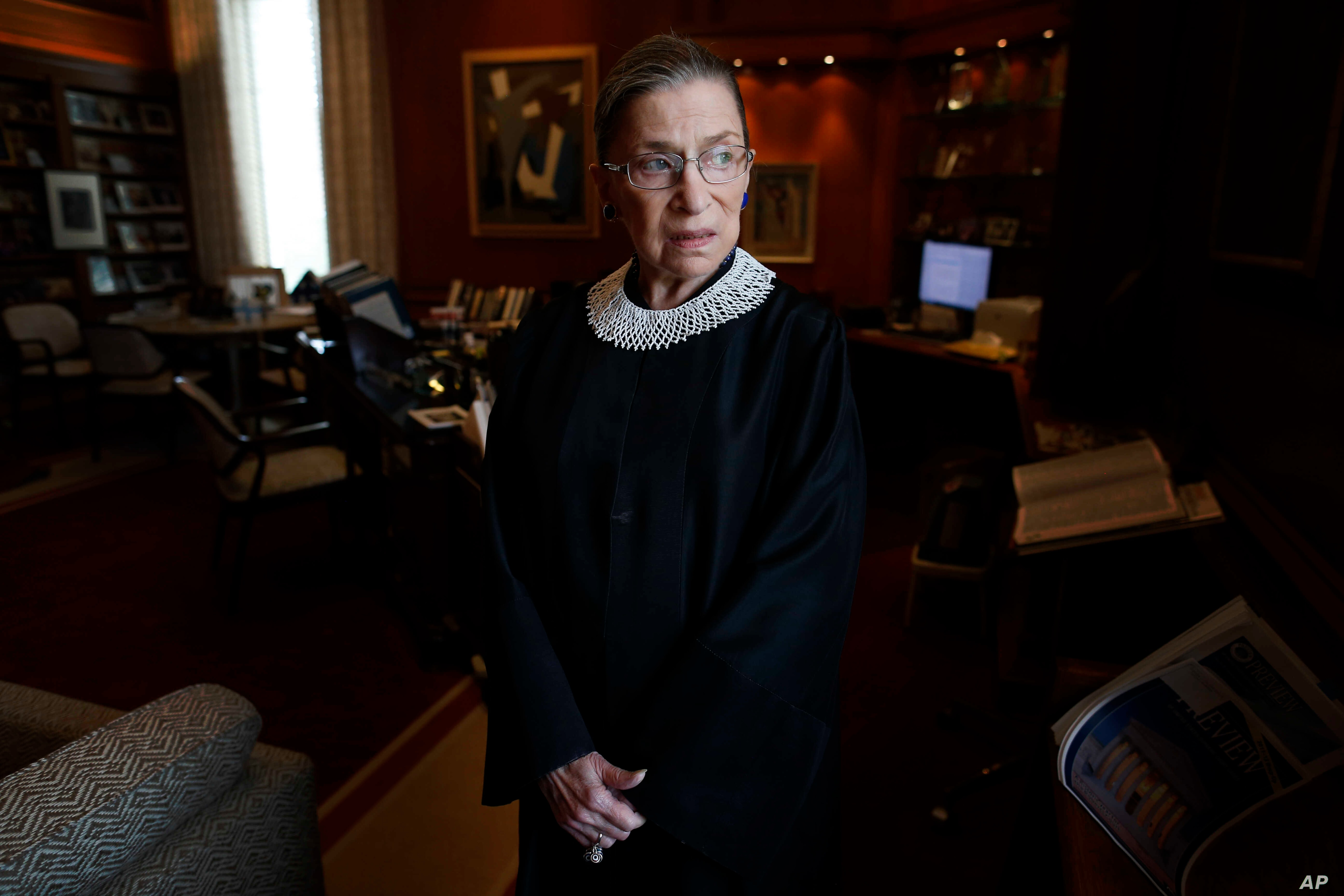 Associate Justice Ruth Bader Ginsburg in her chambers at the Supreme Court in Washington, July 24, 2013