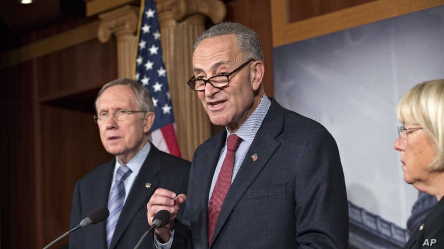 From left, Senate Majority Leader Harry Reid, D-Nev., Sen. Chuck Schumer, D-N.Y., the Democratic Policy Committee chairman, and Sen. Patty Murray, D-Wash., the Budget Committee chair, repeat their resolve to not touch the Affordable Care Act, on Capi