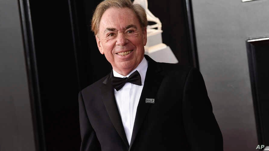 FILE -  Andrew Lloyd Webber arrives at the 60th annual Grammy Awards in New York, Jan. 28, 2018.
