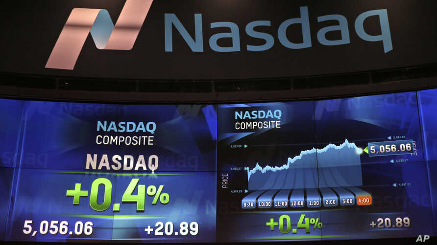 Market data is displayed on the screens at the Nasdaq MarketSite in New York, April 23, 2015.