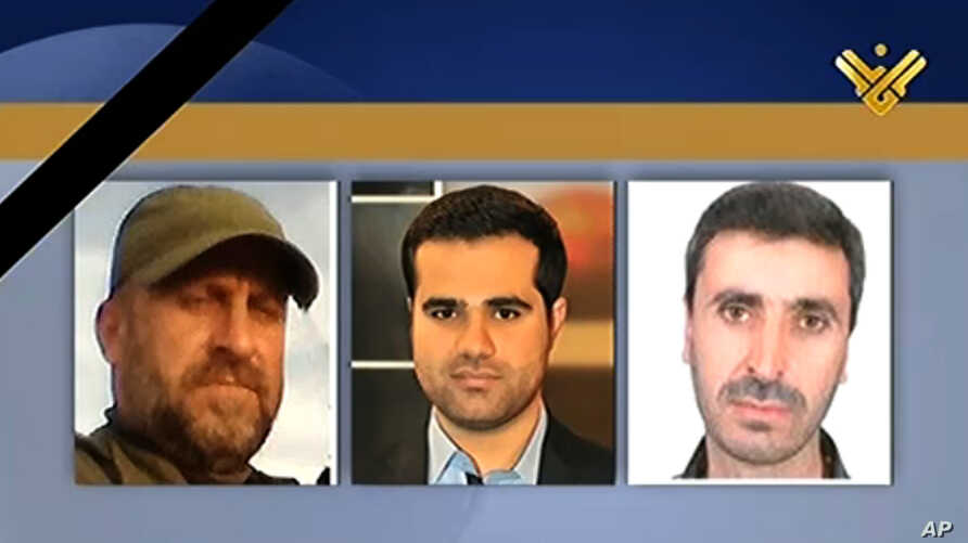 This photo released by Hezbollah-owned Al-Manar TV Facebook page, shows three Al-Manar TV journalists, cameraman Mohammed Mantash, left, reporter Hamza al-Haj Hassan, center, and technician Halim Allaw, right, who were killed while covering the battl