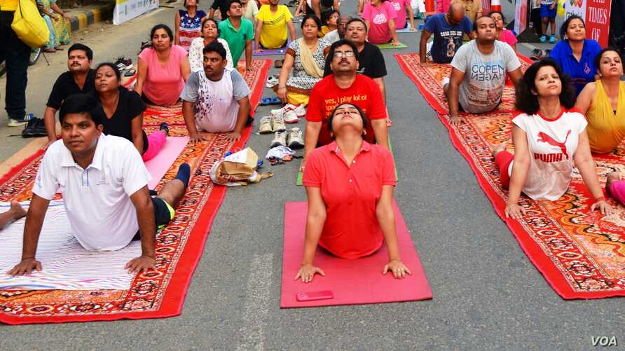 A yoga class being held in Gurgaon, near New Delhi is one of hundreds of such sessions which are gaining in popularity in India.