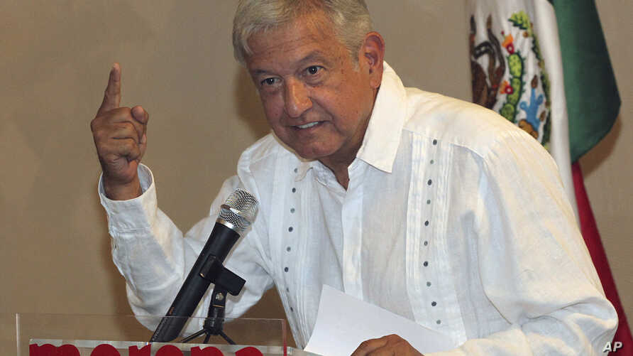 Presidential hopeful Andres Manuel Lopez Obrador gives a press conference in Mexico City, June 9, 2017.