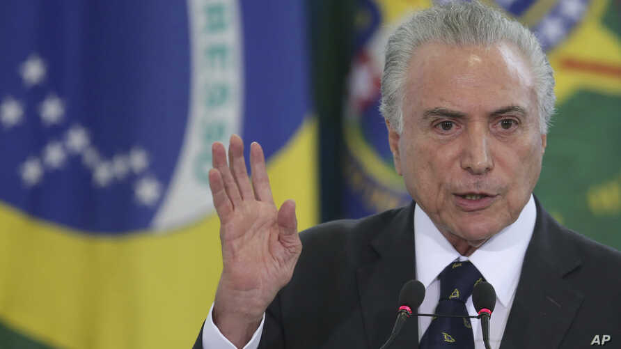 Brazil's President Michel Temer speaks during a swearing ceremony for the newly-named Foreign Minister Aloysio Nunes and Justice Minister Osmar Serraglio, at the Planalto Presidential Palace, in Brasilia, Brazil, March 7, 2017.