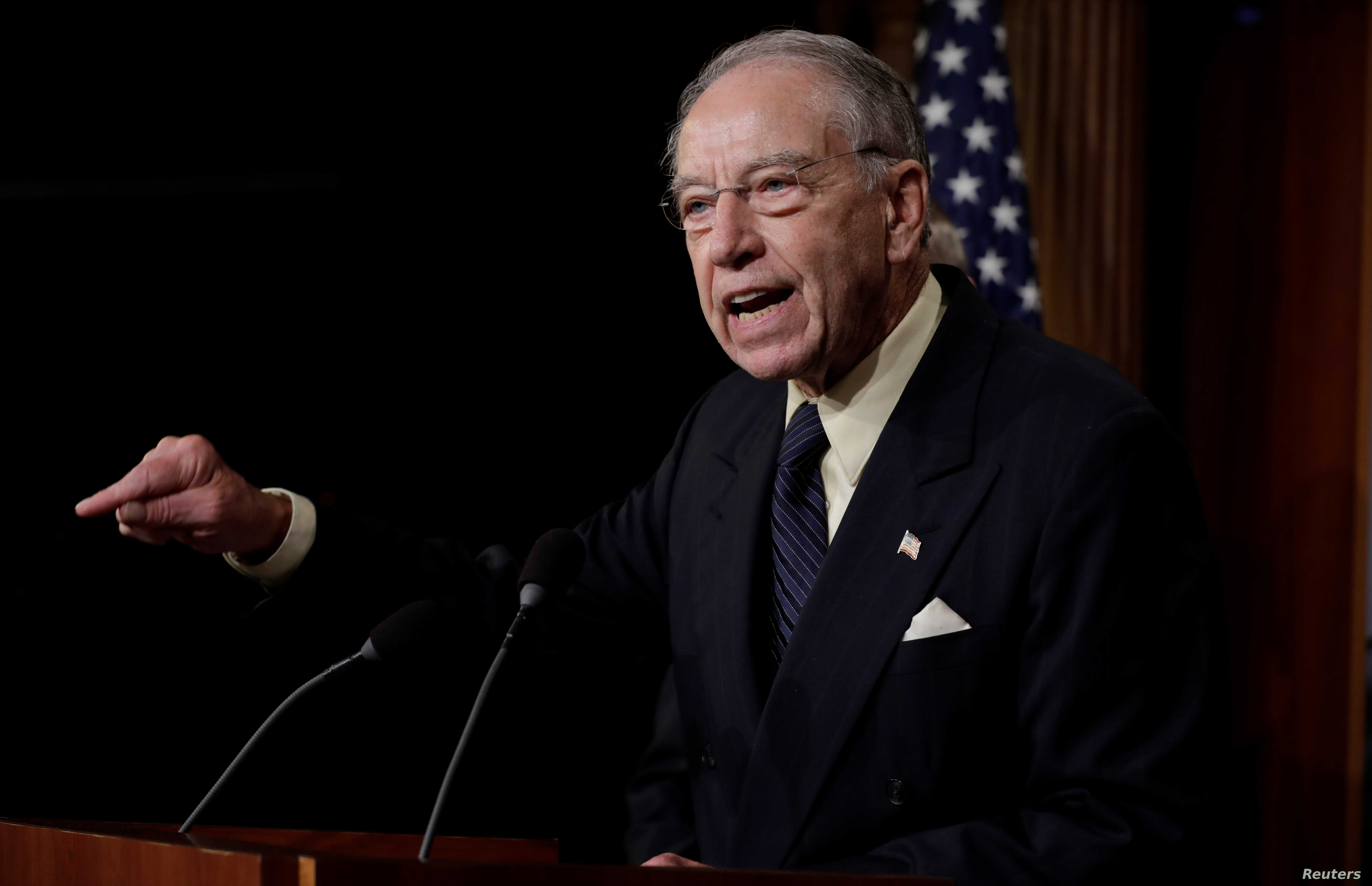 U.S. Senate Judiciary Committee Chairman Senator Chuck Grassley (R-IA) speaks during a news conference to discuss the FBI background investigation into the assault allegations against U.S. Supreme Court nominee Judge Brett Kavanaugh on Capitol Hill i...