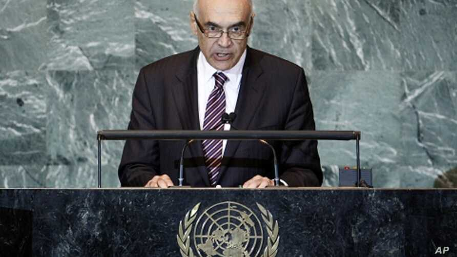 Egypt's Foreign Minister Mohamed Kemal Ali Amr addresses the 66th United Nations General Assembly at U.N. headquarters, in New York, September 24, 2011.