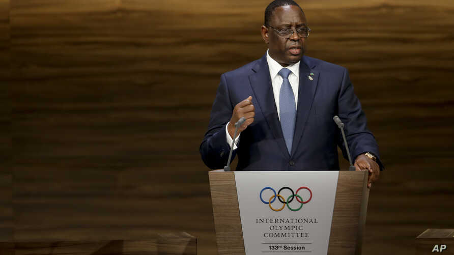 Senegal President Macky Sall talks during the 133th IOC session in Buenos Aires, Argentina, Oct. 8, 2018.