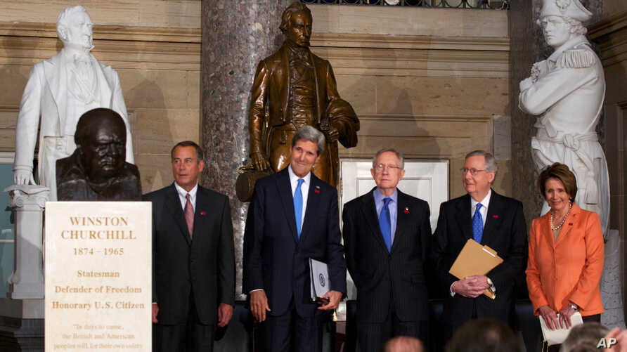 Ceremony dedicates a bust of Winston Churchill in Statuary Hall on Capitol Hill in Washington, Oct. 30, 2013.
