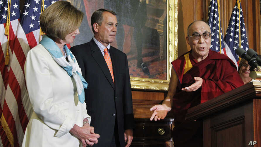 The Dalai Lama makes remarks on Capitol Hill  July 7, 2011, as he is welcomed by House Speaker John Boehner of Ohio, and House Minority Leader Nancy Pelosi of California