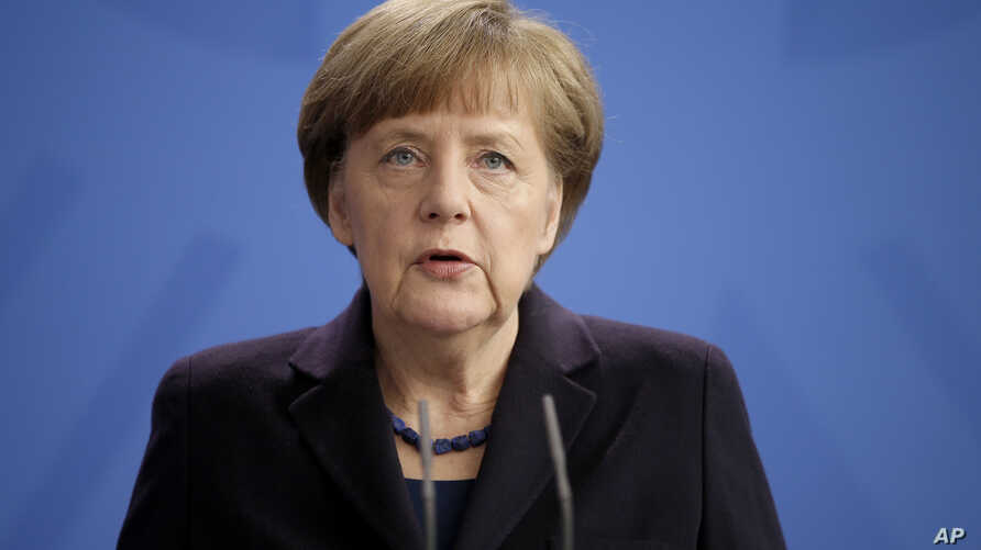 German Chancellor Angela Merkel addresses the media during a statement at the Chancellery in Berlin, Germany, March 24, 2015, after a Germanwings passenger jet carrying more than 140 people crashed in the French Alps.