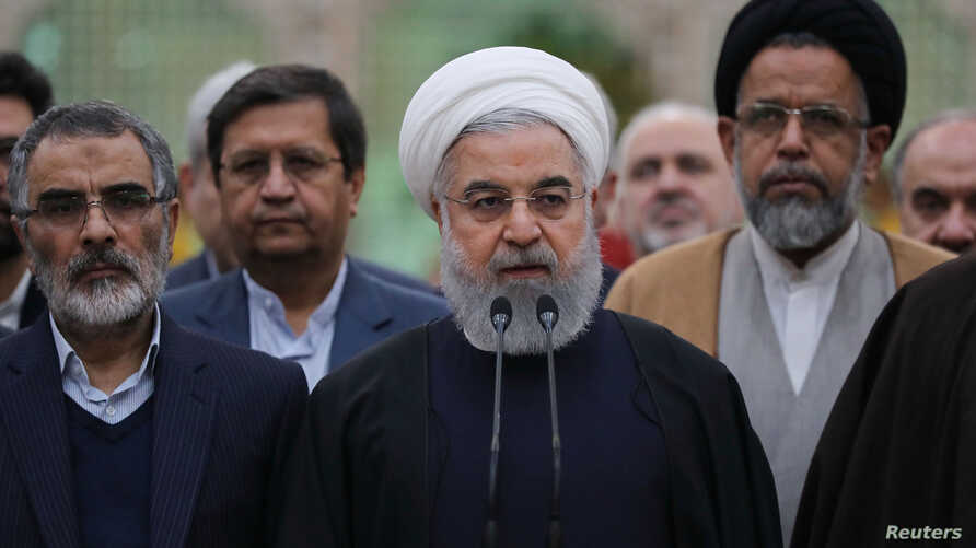 Iran's President Hassan Rouhani speaks during his visit to the shrine of the founder of the Islamic Republic, Ayatollah Ruhollah Khomeini, south of Tehran, Iran, Jan. 30, 2019.